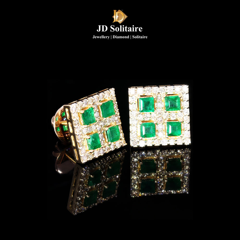 Emerald Diamonds Yellow Gold Earrings