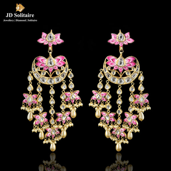 Kundan Polki With Hanging Pearl Long Earrings