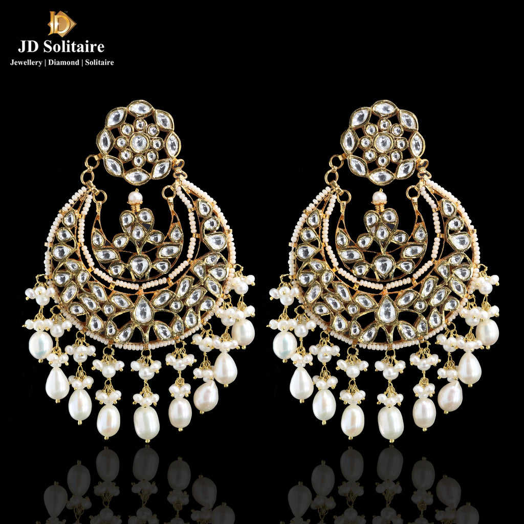 Kundan with Pearl Chand Bali Design Earring