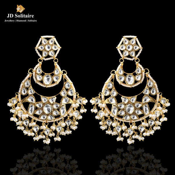 Kundan with Pearl Chand Bali Earrings