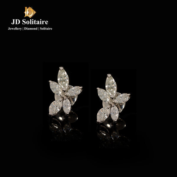 Pear Cut Shape Diamond White Gold Earrings