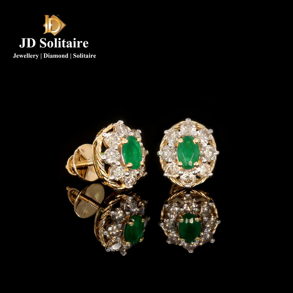 Green Stone +Diamond Yellow Gold Earrings