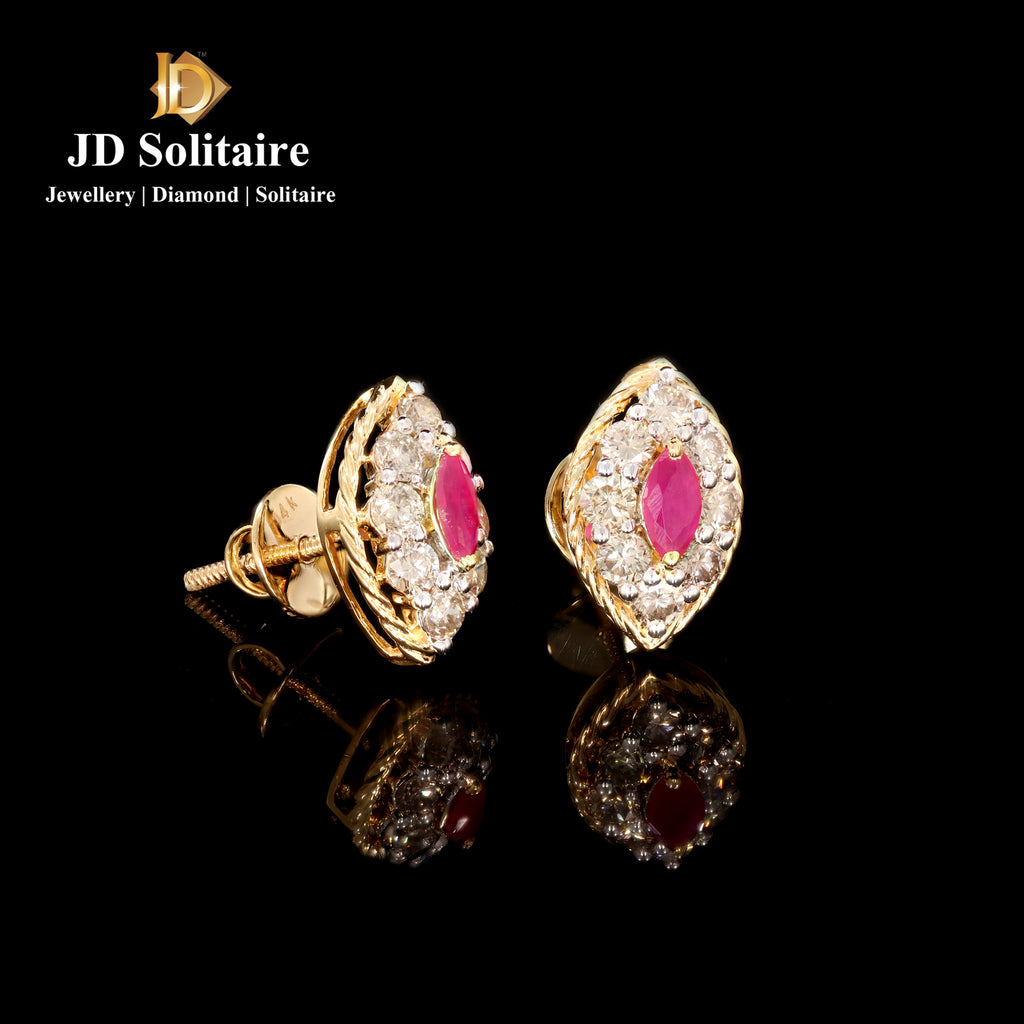 Red Stone + Diamond Yellow Gold Earrings
