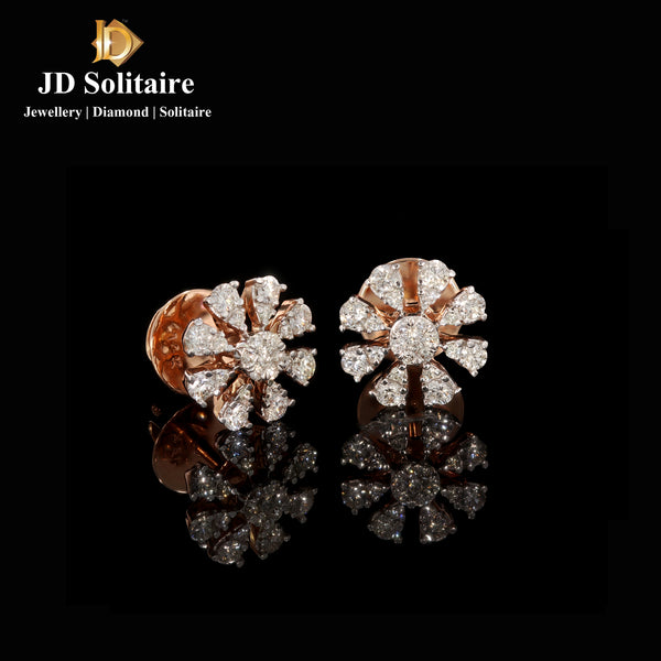 Diamond Flower Shape Rose Gold Earrings