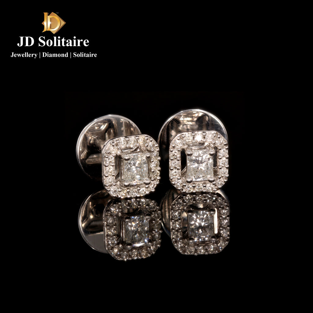 Radiant Cut With Small Diamond Earrings