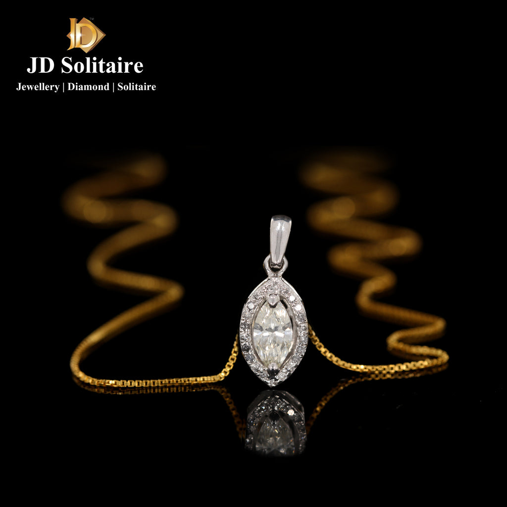 Marquise Cut With Small Diamond Pendant