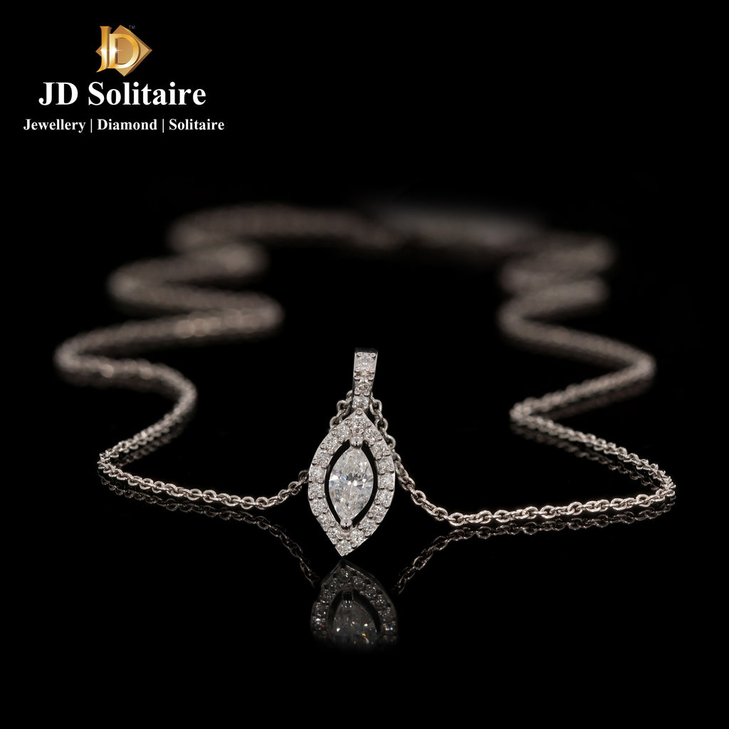 Marquise Cut With Small Diamond Pendant With Chain