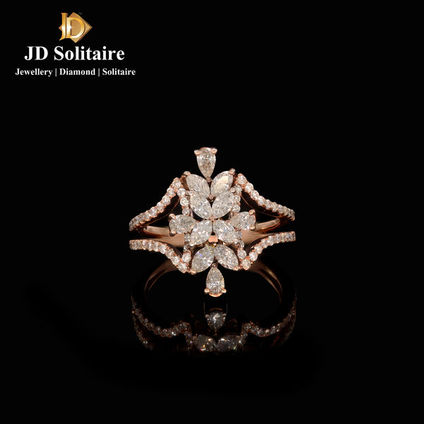 Pear Cut Diamonds in Pear Marquise Round Diamonds Rose Gold Ring