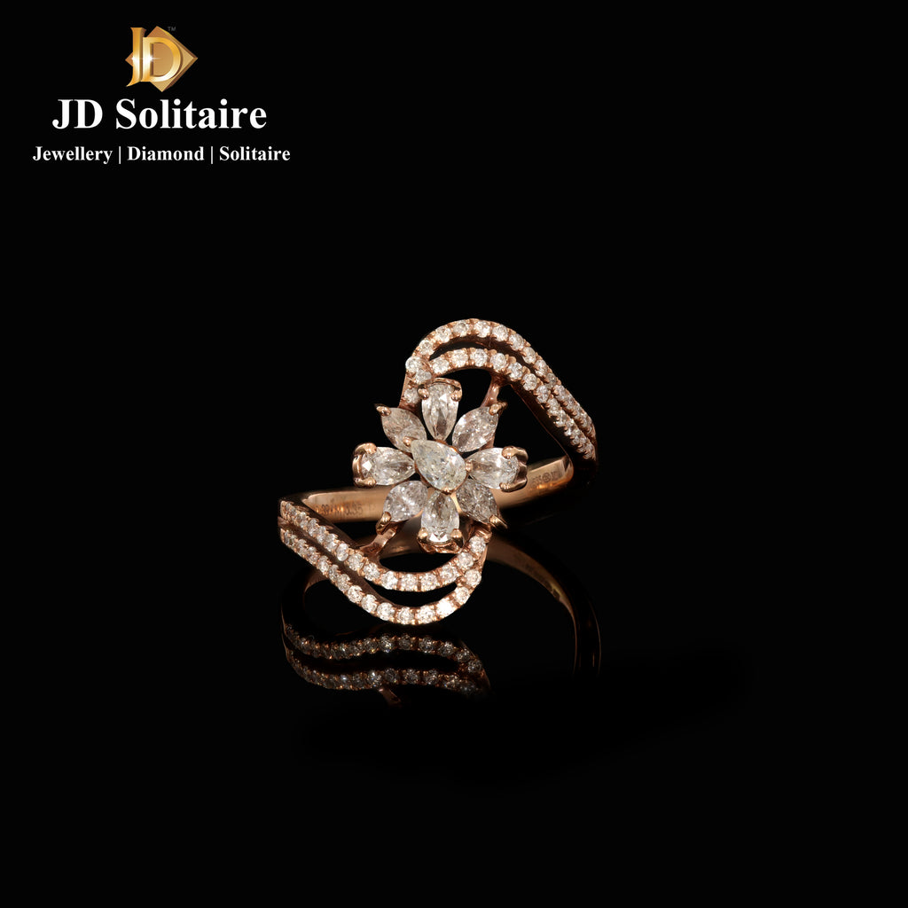Marquise,Pear Cut With Small Diamonds Rose Gold Ring