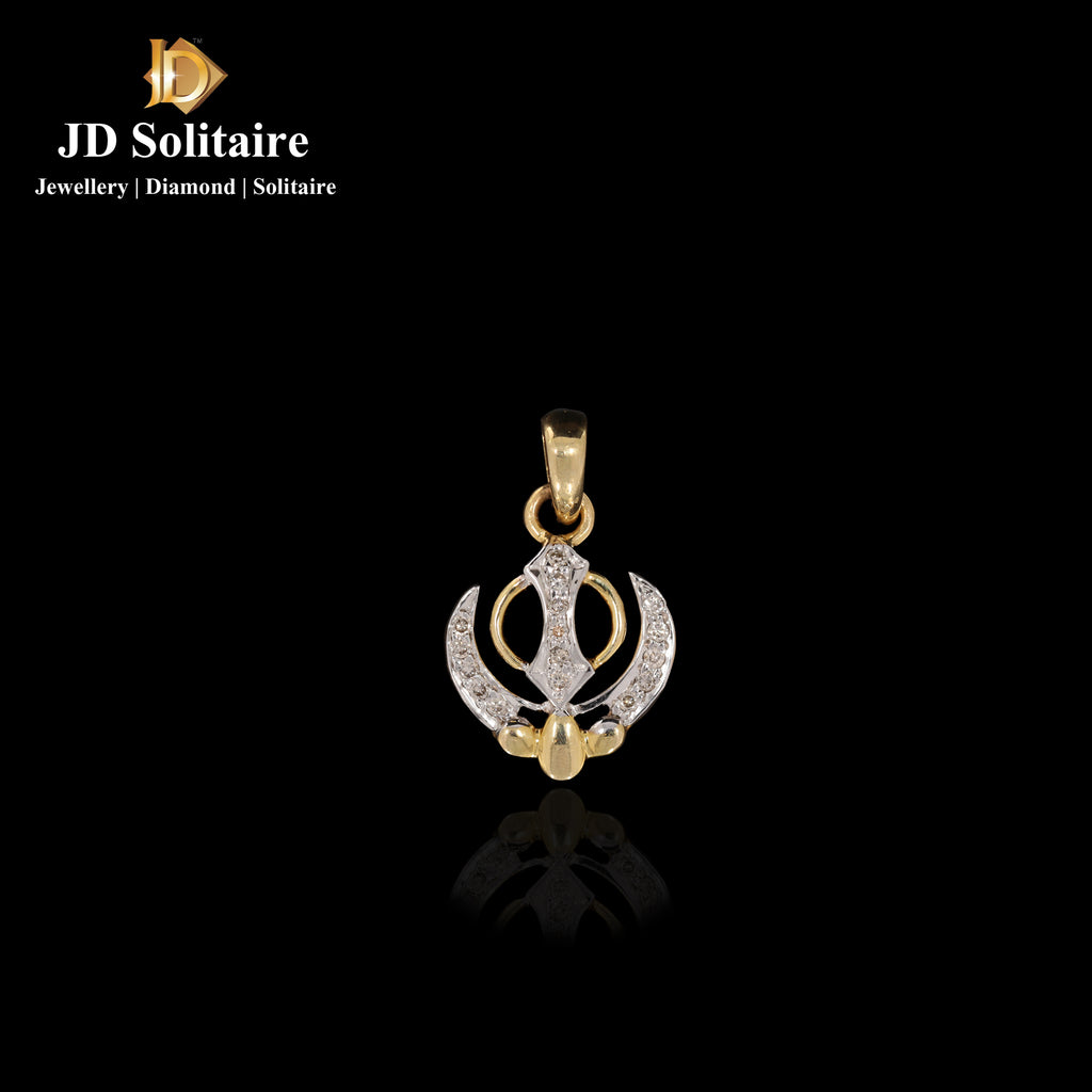 Diamond Yellow Gold Khanda Pendant