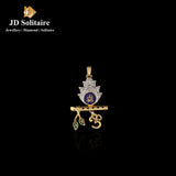 Diamond Yellow Gold Blue Meena Om Pendant