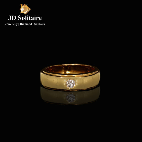Diamond Yellow Gold Gents Band Ring