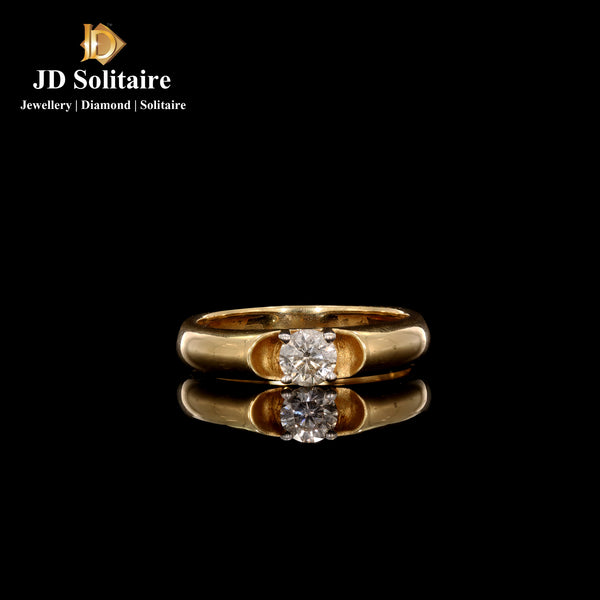 Single Diamond Yellow Gold Gents Band Ring