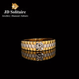 Diamond Yellow Gold Gents Ring