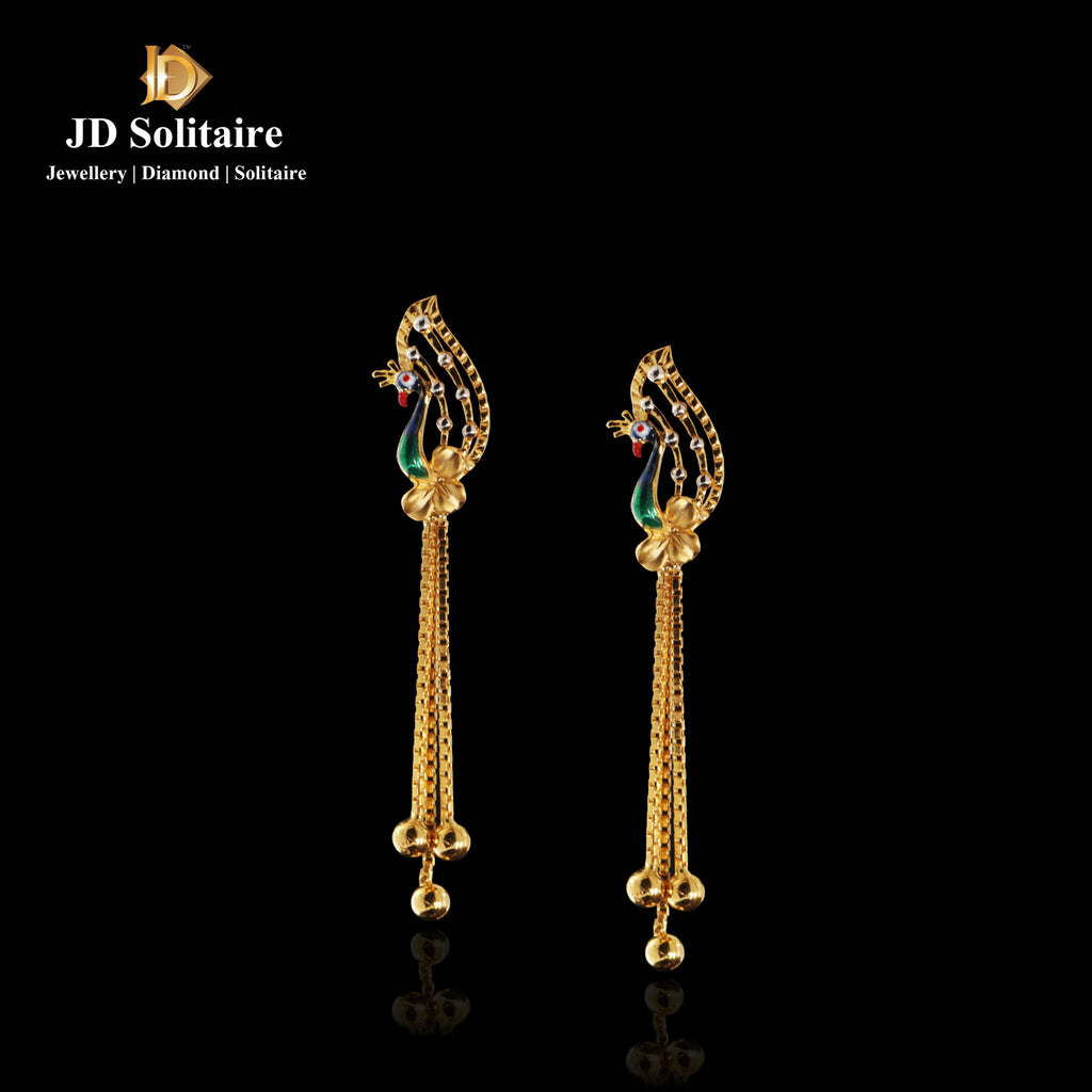 Peacock Design Yellow Gold Earrings