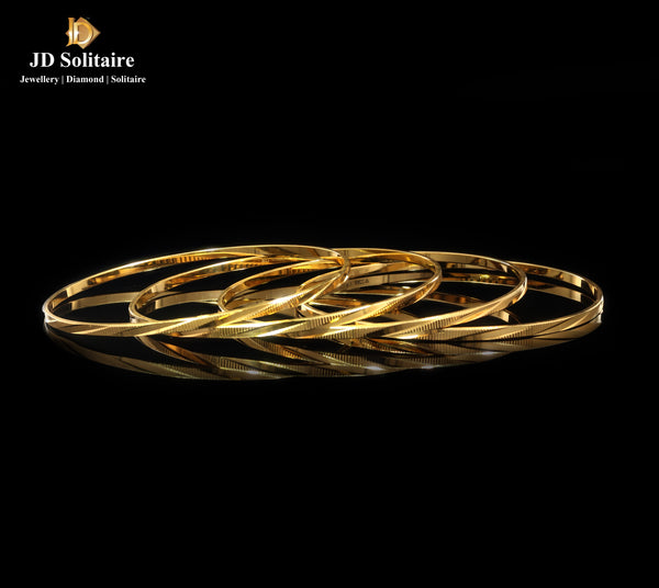 Plain Yellow Gold 4 Pieces Bangles
