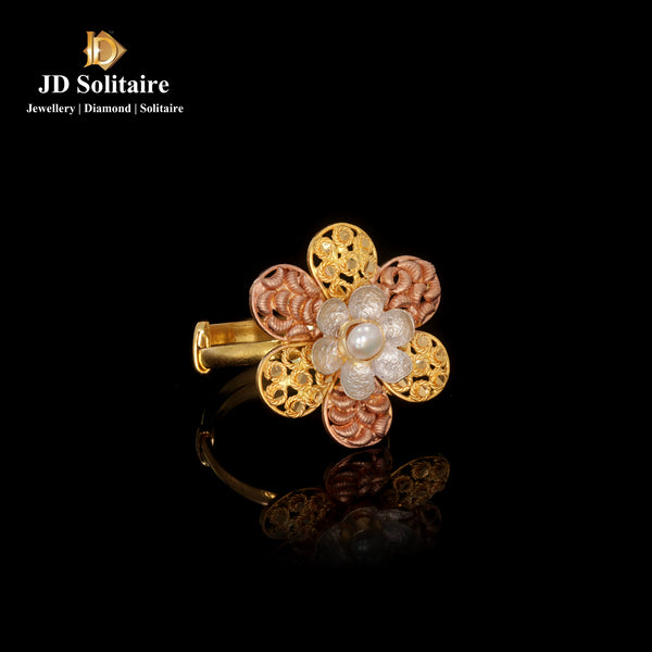 Yellow Gold Flower Design Ring