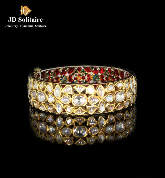 Polki Gold Patra In Single Bangle