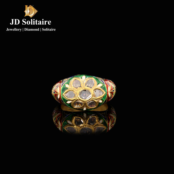 Kundan Polki Red & Green Meena Work Ring