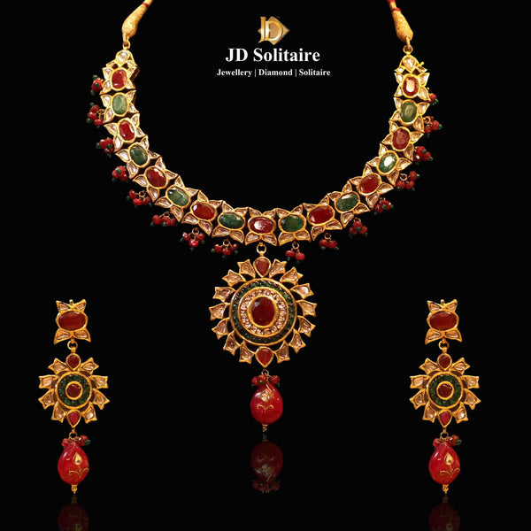 Ruby +Emerald Kundan Necklace Set