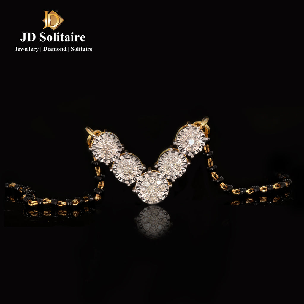 Illusion Setting Diamond Yellow Gold Mangalsutra