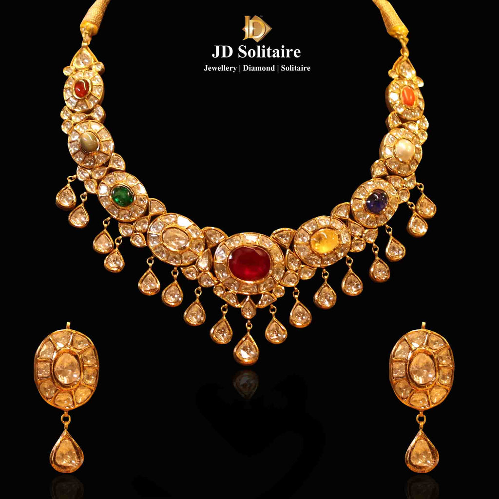 Kundan Polki Navratan Necklace Set