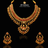 Kundan Red & Green Stone Necklace Set In 18KT
