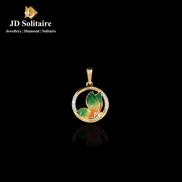 Diamond Yellow Gold Meena Work Pendant