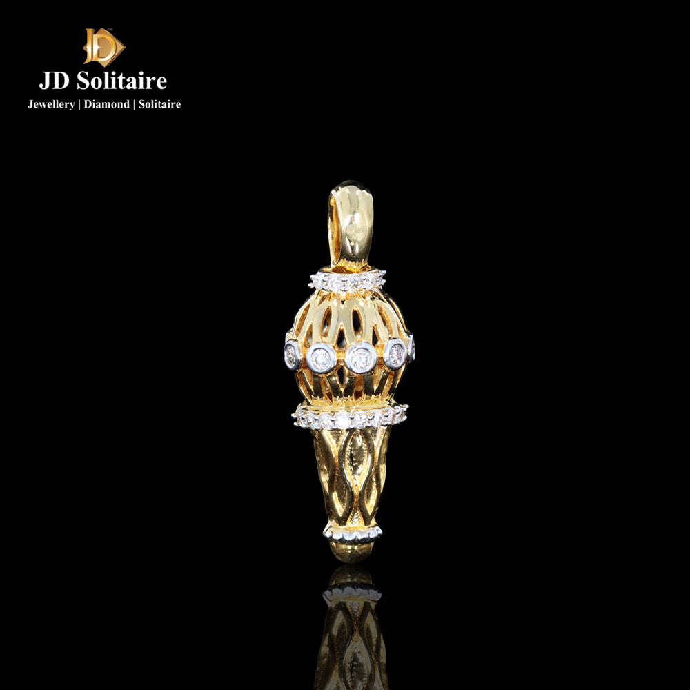 Diamond Yellow Gold Hanuman Mace Pendant