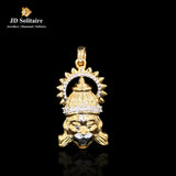 Diamond Hanuman Ji Yellow Gold Pendant