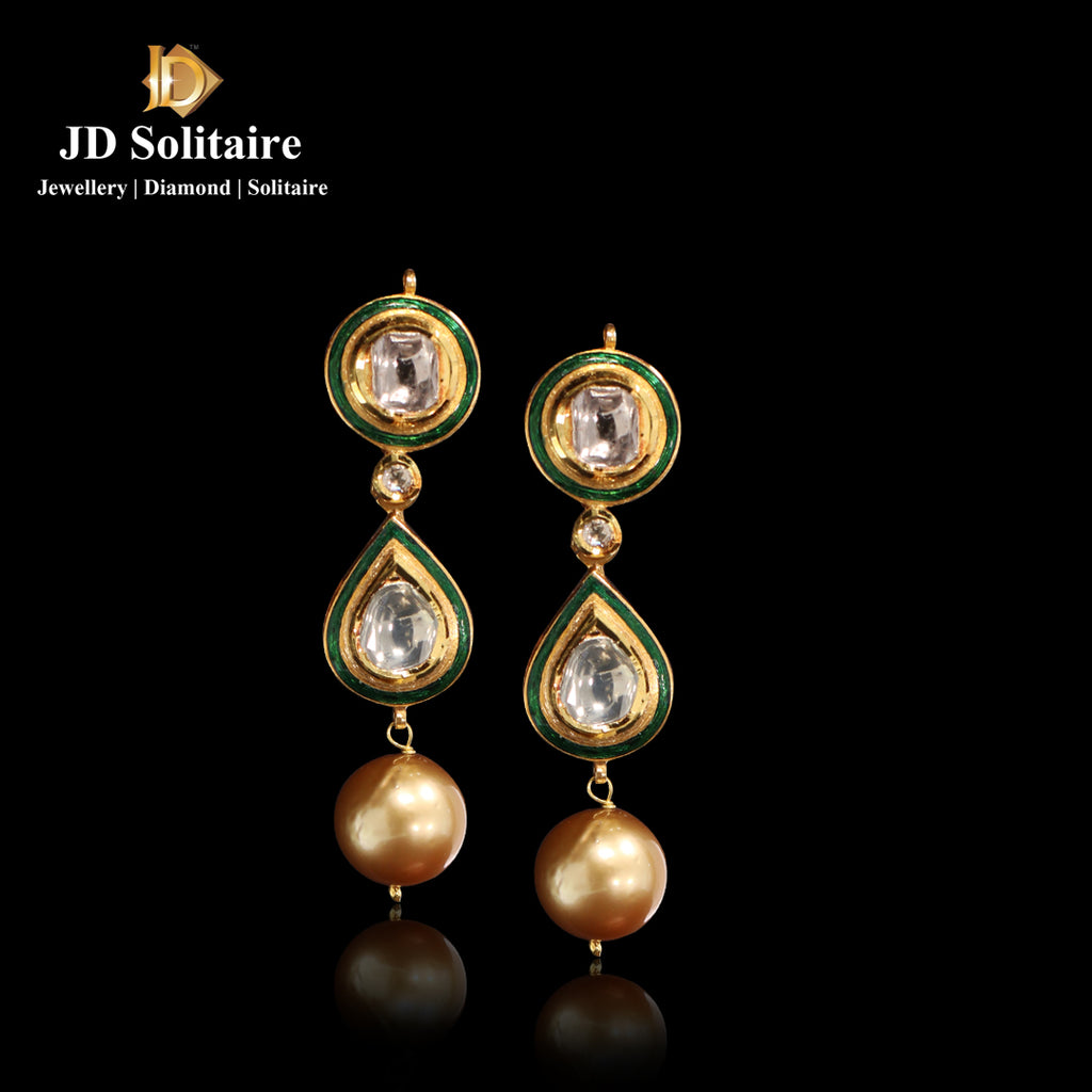 Kundan Polki With Hanging South Sea Pearl Earrings