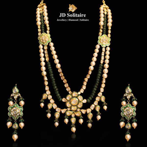 Kundan Polki Green Meena Necklace Set With South Sea Pearl