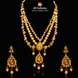 Kundan Polki Green Meena With South Sea Pearl Necklace Set