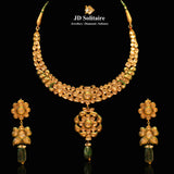 Kundan Polki Green Meena Necklace Set
