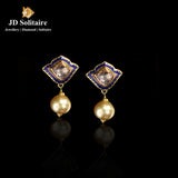 Kundan Polki Blue Meena With Hanging South Sea Pearl Earrings
