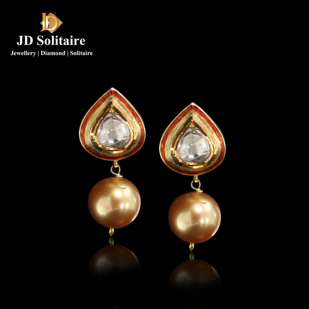 Kundan Polki With Hanging With South Sea Pearl Earrings