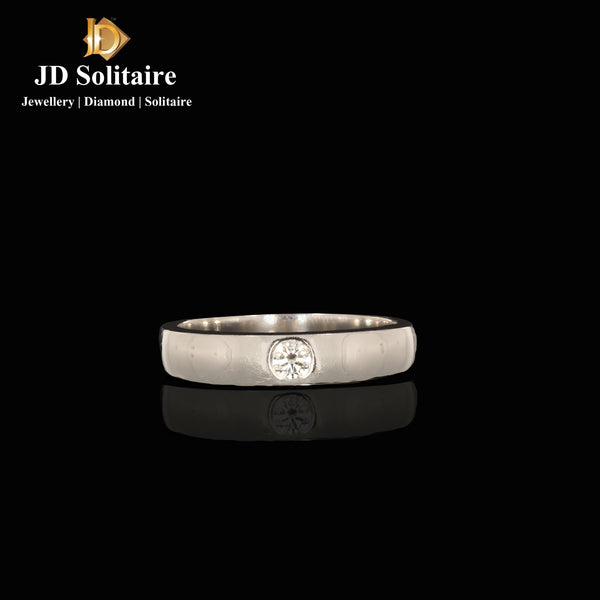 Single Diamond Platinum Gents Ring