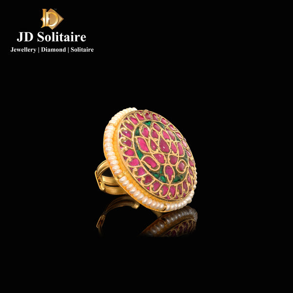 Kundan Pearl ,Red & Green Stone Ring