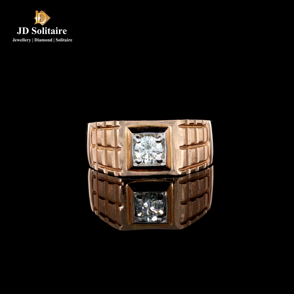 Solitaire Diamond Rosegold Gents Ring
