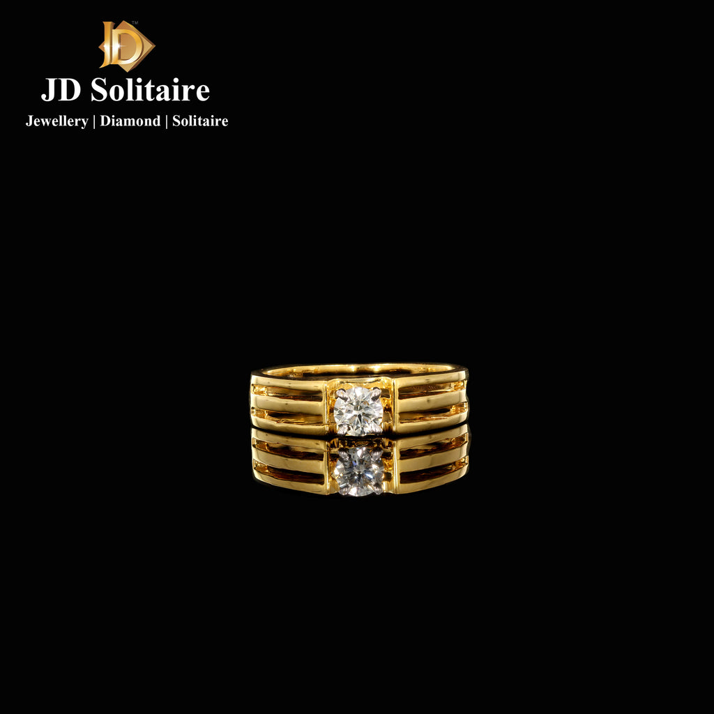 Solitaire Yellow Gold Gents Band Ring