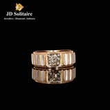 Single Diamond Rose Gold Gents Ring