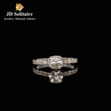 Solitaire With Small Diamonds Ring