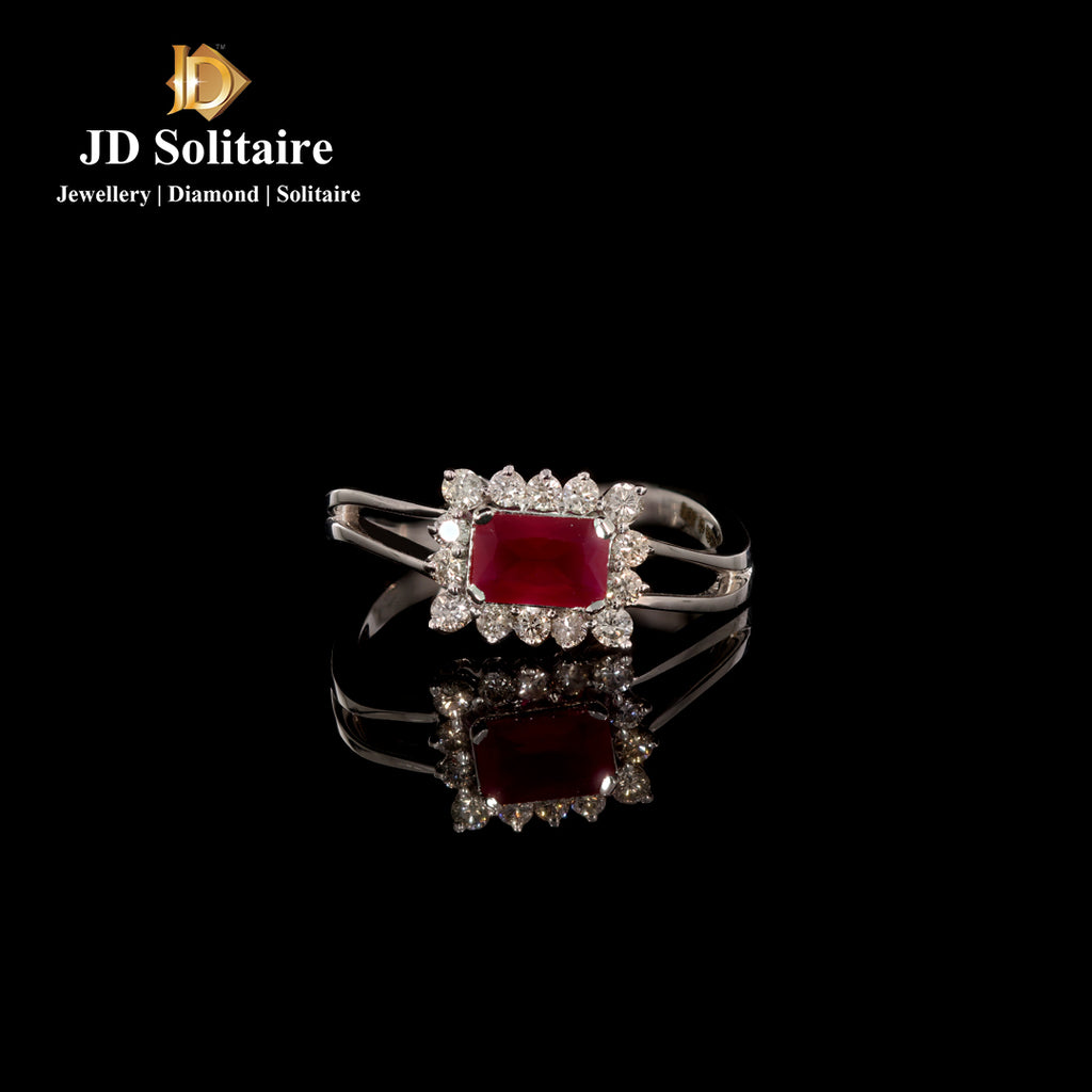 Red Stone Diamonds White Gold Ring