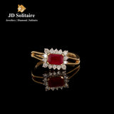 Diamonds Red Stone Yellow Gold Ring