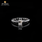 Emerald Cut With Small Diamond White Gold Ring