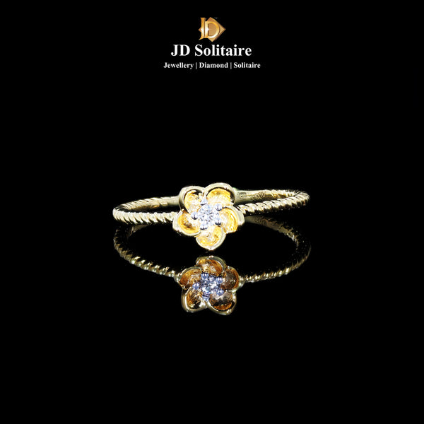 Single Diamond Yellow Gold Ring