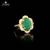 Emerald with Diamond Yellow Gold Ring