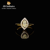 Marquise Cut With Small Diamond Yellow Gold Ring