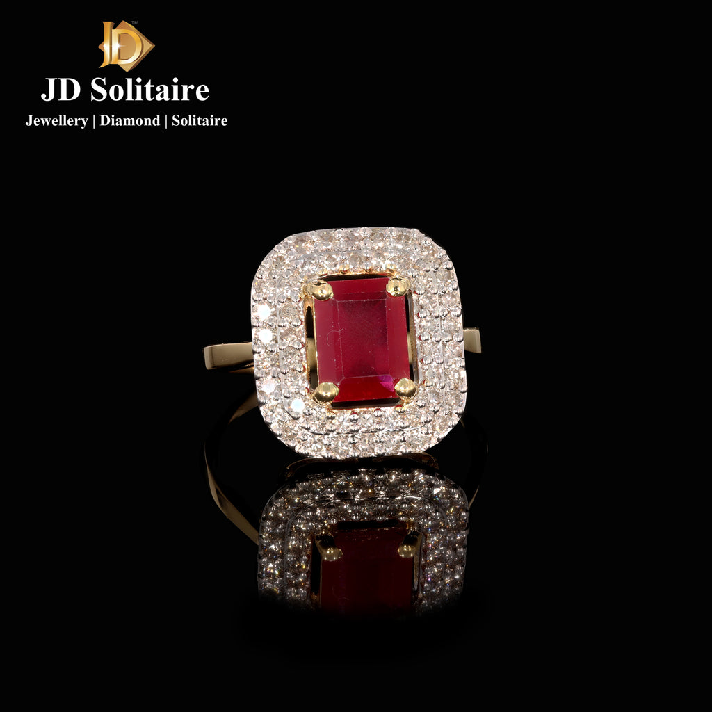 Red Stone + Diamond Yellow Gold Ring