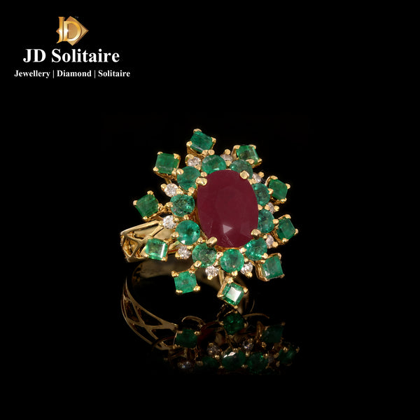 Ruby & Emerald Diamond Yellow Gold Ring